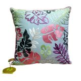 Sky Blue Embroidered Leaves Cushion Cover