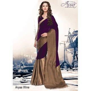 1 Crazy Designer Maroon Cotton Plain Saree With Blouse