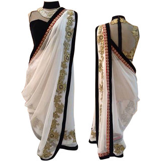 SuratTex White Georgette Embroidered Saree With Blouse