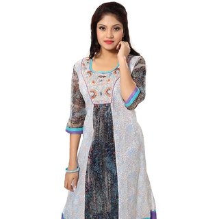 ARCH Multicolor Printed Cotton Semi Formal Kurti For Women