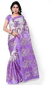 SVB Purple Cotton Block Print  saree Without Blouse
