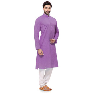 RG Designers Handloom Purple Self Design Kurta