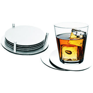 Mintage Round Coaster Silver Stainless Steel