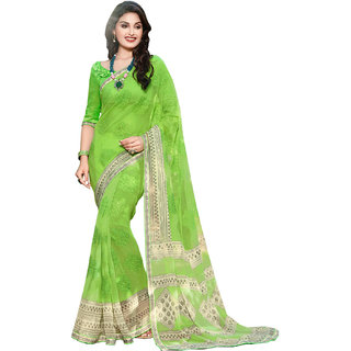Sanwara Green Chiffon Embroidered Saree With Blouse