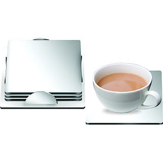 Mintage Square Coaster Silver Stainless Steel