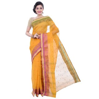 Sanwara Yellow Cotton Self Design Saree With Blouse