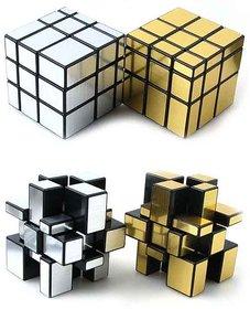 Puzzle Magic Mirror Rubik Cube-2 pcs(Golden  Silver Plastic)