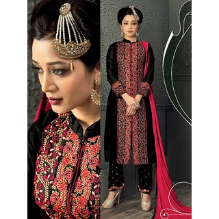 Thankar Black  Red Embroidered Heavy Chanderi Straight Suit