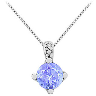 14K White Gold Created Tanzanite Pendant Necklace With Cz In 14K White Gold