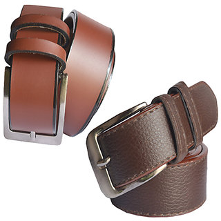 Sunshopping mens brown Leatherite needle pin point buckle belts (Combo) (Synthetic leather/Rexine)