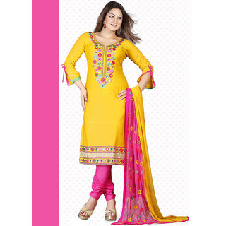 vandv New Yellow  Pink Satin Dress Material