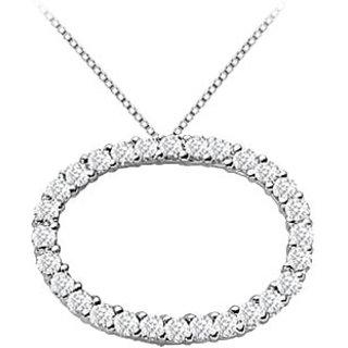 14K White Gold Oval Diamond Circle Pendant With 1.50 Ct Diamonds