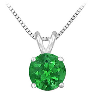 14K White Gold Prong Set Natural Emerald Solitaire Pendant 0.75 Ct