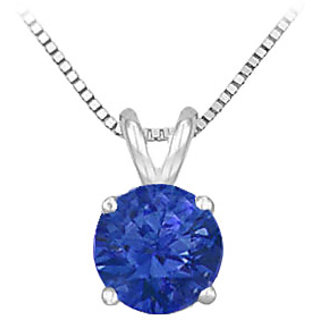 14K White Gold Prong Set Natural Sapphire Solitaire Pendant 0.75 Ct