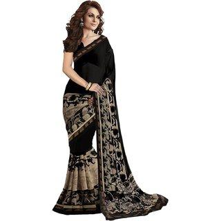 Fashion Womens Georgette Printed Saree (Black )