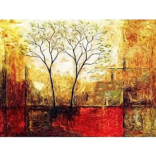 Paintings Modern Art Twin Trees Canvas Print