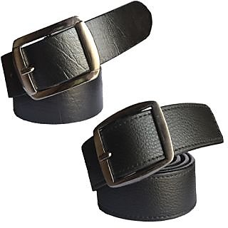 Sunshopping mens black Leatherite H pin buckle belts (Combo) (Synthetic leather/Rexine)