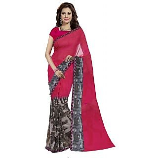 Georgette Printed Womens Saree (Pink  Gray)