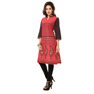 ARCH Red Printed Cotton Semi Formal Kurti For Women