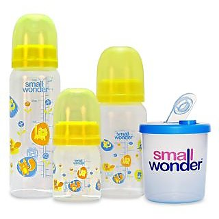 Small Wonder Adre Set of 4 - BPA Free Adre 60ml 125ml 250ml PP Bottle 300ml lk Powder Dispenser (Yellow Blue)