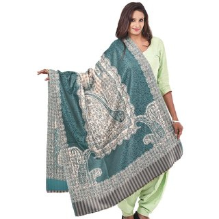 Womens Green Jamdani Kashmiri Shawls