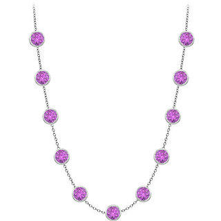 3 Ct Amethyst Necklace In 14K White Gold With Cable Chain 16 Inch