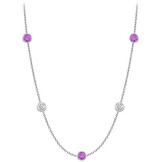 Amethyst & Cz Station Necklace In 14K White Gold 10 Ct With 36 Inch Long