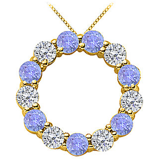 2 Ct Diamond And Tanzanite Eternity Circle Necklace In 14K Yellow Gold