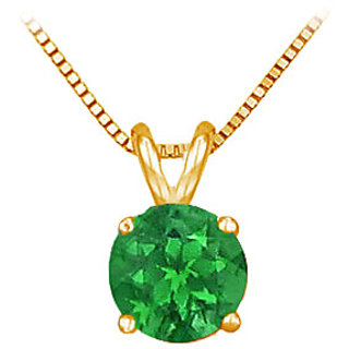 14K Yellow Gold Prong Set Natural Emerald Solitaire Pendant 0.75 Ct