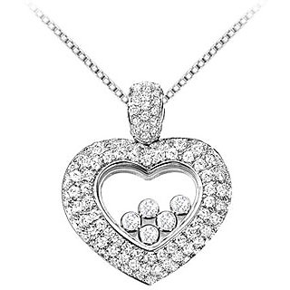 18K White Gold Pave Diamond Floating Heart Necklace With 1 Ct Diamonds