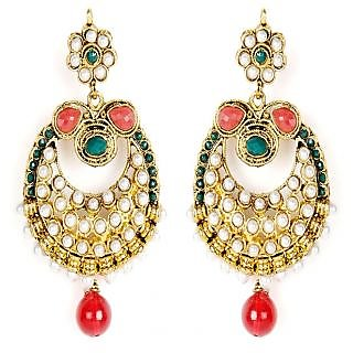Shining Diva Golden Coloured Hanging Earrings with Green & Pink Stones