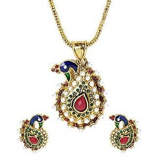 Shining Diva Drop Shape Peacock Pendant Necklace Set