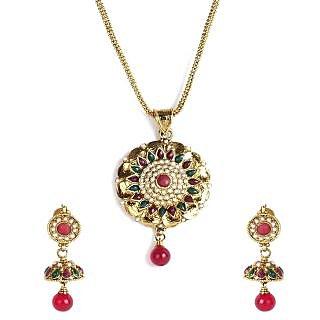 Shining Diva Floral Ethnic Jhumki Pendant Necklace Set