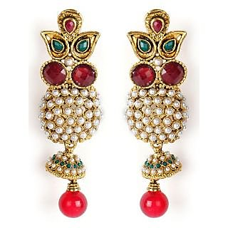 Shining Diva Attractive Red, Maroon & Green Hanging Earrings