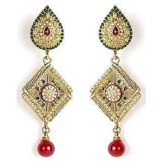 Shining Diva Diamond Shaped Beautifully Studded Hanging Earrings