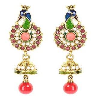 Shining Diva Peacock Designed Classic Multicoloured Hanging Earrings