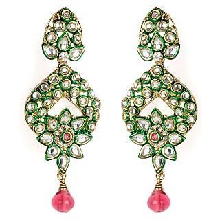 Shining Diva Kundan Studded Hanging Earrings With a Flower