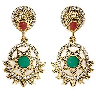 Shining Diva Hanging Star Designed Green & Red Earrings