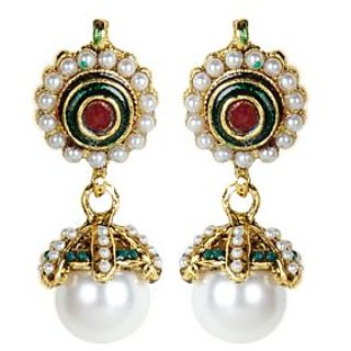 Shining Diva Floral Beaded White, Green & Red Hanging Earring with a Pearl