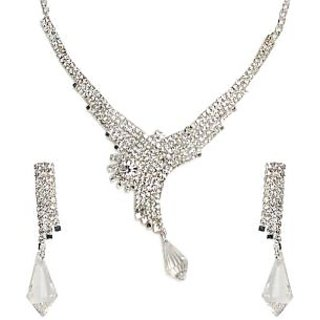 Shining Diva Silver Dazzle Necklace Set