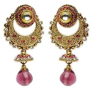 Shining Diva Circular & Crescent Design Earrings