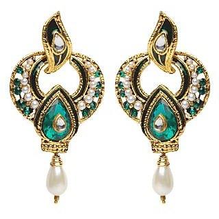 Shining Diva Green & Golden Earrings