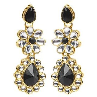 Shining Diva Floral Black Earrings