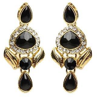Shining Diva Black & Golden Earrings