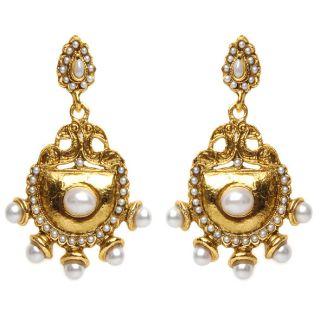 Shining Diva Golden & White Earrings