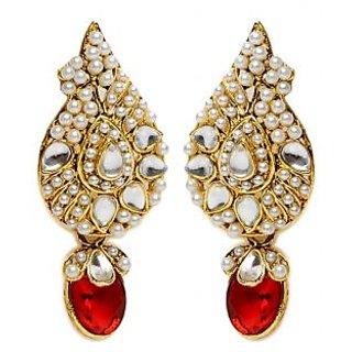 Shining Diva Gorgeous Red & White Earrings