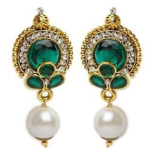 Shining Diva Green & White Earrings