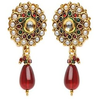Shining Diva Long Red Drop Earrings