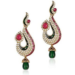 Shining Diva Red and Green Hanging Earrings