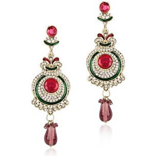 Shining Diva Red and Green Circular Hanging Earrings